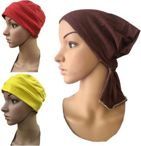 ca5569cdc7f GIRIJA Solid 3 PIECES COMBO PACK OF CHEMO HEADWRAP UNDERSCARF CAPS CANCER  PATIENT CAPS WOMENS PREGNANCY HEADWRAP CapPack of 3