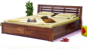VINTEJ HOME Solid wood Contemporary Queen Size Box Storage bed In Provincial Teak Finish By Vintage Home Solid Wood Queen Bed