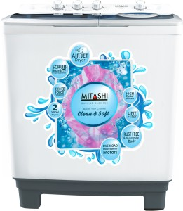 Mitashi 8.5 kg Semi Automatic Top Load Washing Machine White, Grey