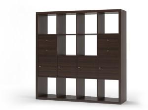 Urban Ladder Boeberg Bookshelf 4 x 4; Inserts : 4 cabinet, 2 drawers Engineered Wood Semi-Open Book Shelf
