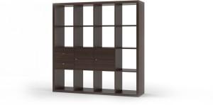 Urban Ladder Boeberg Bookshelf 4 x 4; Inserts : 2 cabinet, 1 drawers Engineered Wood Semi-Open Book Shelf