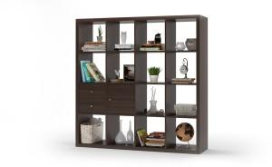 Urban Ladder Boeberg Bookshelf 4 x 4; Inserts : 1 cabinet, 1 drawers Engineered Wood Semi-Open Book Shelf