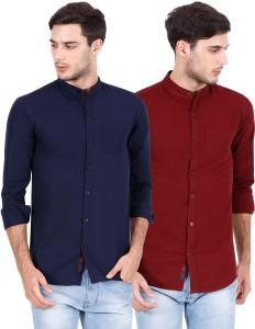Rope Men's Solid Casual Dark Blue, Maroon Shirt