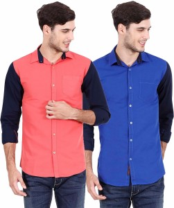 Rope Men's Solid Casual Red, Blue Shirt