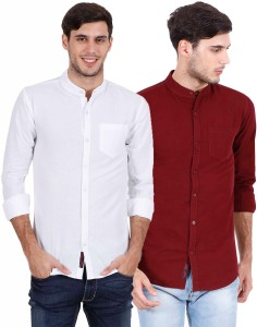 Rope Men's Solid Casual White, Maroon Shirt