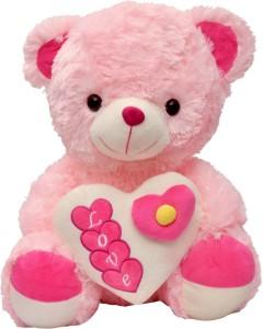 Sunshine Gifting Pink Cute Teddy with Heart Stuffed Soft Plush Toy Love Girl(43 cm long)  - 20 cm