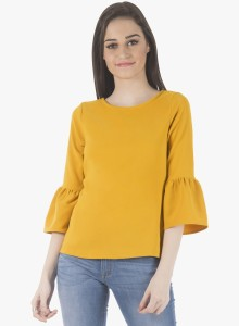 49b5ab67fb0 FabAlley Casual 3 4th Sleeve Solid Women Yellow Top