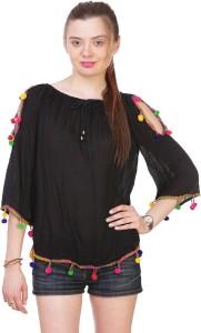 Myshka Casual 3/4th Sleeve Solid Women's Black Top
