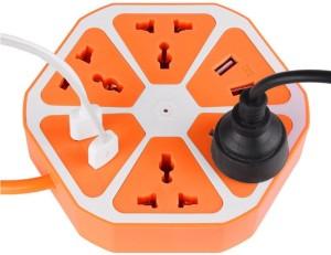 xlncpro Multi-Purpose Hexagon 4 USB+4 Way Charging Switch 10 A Three Pin Socket