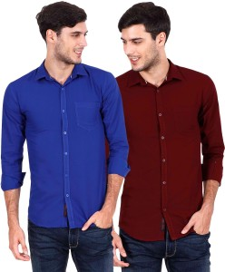 Rope Men's Solid Casual Blue, Maroon Shirt