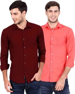 Rope Men's Solid Casual Maroon, Red Shirt