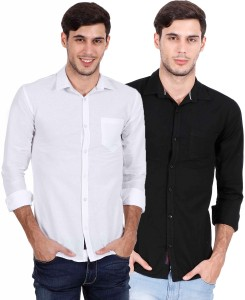 Rope Men's Solid Casual White, Black Shirt