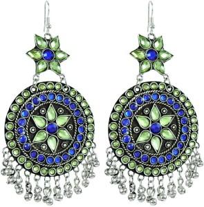 Miska Silver Afgani Earrings Crystal German Silver Chandelier Earring