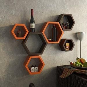 Decorasia Hexagon Shape Wooden Wall Shelf