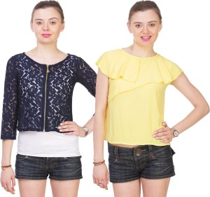 Myshka Casual 3/4th Sleeve Embroidered Women's Yellow, Blue Top
