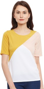 Popnetic Casual Half Sleeve Color Blocked Women White Top