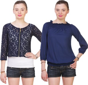 Myshka Casual 3/4th Sleeve Embroidered Women's Blue Top
