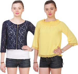 Myshka Casual 3/4th Sleeve Embroidered Women's Blue, Yellow Top