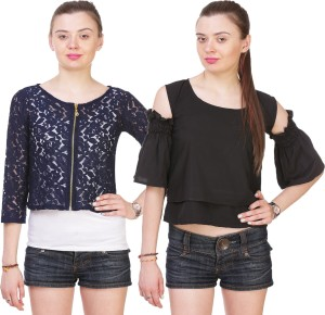 Myshka Casual 3/4th Sleeve Embroidered Women's Blue, Black Top