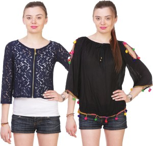 Myshka Casual 3/4th Sleeve Embroidered Women's Black, Blue Top