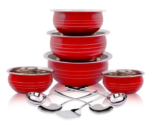 Classic Essentials red handi set with 5 serving tool Induction Bottom Cookware Set