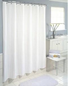 Yellow Weaves PVC White Plain Shower Curtain