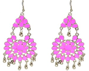 Jewels Kafe Oxidised Silver Afgani Tribal Alloy Dangle Earring