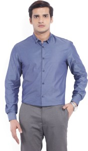 Arrow New York Men's Solid Formal Dark Blue Shirt