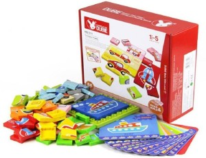 Sanyal Dubie 88 pcs Animal/Vehicles Puzzles Plastic Blocks with Baseplate Educational Toys for Kids (Multicolour)