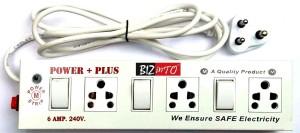 Bizinto Power Plus 3+3 Socket Extension Board in Metal 6 A Three Pin Socket