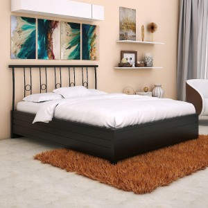 FurnitureKraft Manila Metal Queen Bed With Storage