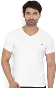 United Colors of Benetton. Solid Men's V-neck White T-Shirt