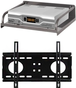 FineArts Combo of Steel Set Top Box Stand/DTH Stand/Set Top Box Wall Bracket (Metal Body) with Universal 26 to 32 inch LED/LCD TV Wall Mount Bracket Fixed TV Mount