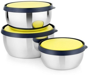 Sayee Stainless Steel Glossy Yellow Lid Bowl Stainless Steel Bowl Set