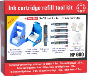 Red Star ink refill tool kit for hp 680 cartridge Multi Color Ink