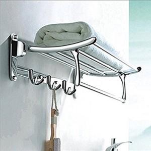Handy Folding Towel Rack Stainless Steel Wall Shelf