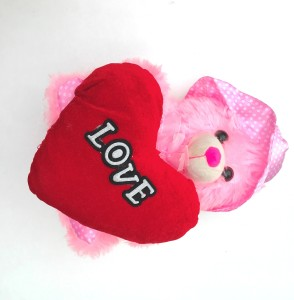 aparnas Cute looking pink teddy bear with red love heart stuffed plush softtoy love girl kids  - 30 cm