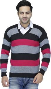 Rakshita Collection Striped V-neck Casual Men's Pink Sweater