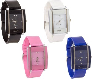 6ff618f88 keepkart Square GLORY KAWA White-Black-Blue-Pink Multicolour Combo Pack Of  - 4 For Girls Watch Watch