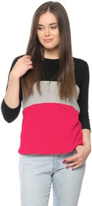 ALC Creations Solid, Striped Women Round Neck Black, Grey, Pink T-Shirt