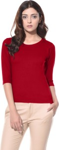 ALC Creations Solid Women Round Neck Red T-Shirt