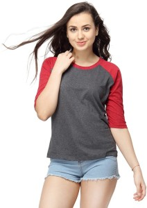 ALC Creations Solid, Striped Women Round Neck Maroon, Grey T-Shirt