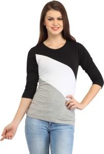 ALC Creations Striped Women Round Neck Black, White, Grey T-Shirt