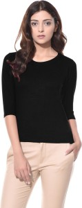 ALC Creations Solid Women Round Neck Black T-Shirt
