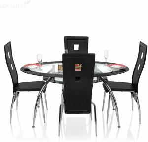 Royaloak Roger Glass 4 Seater Dining Set Finish Color Black Best