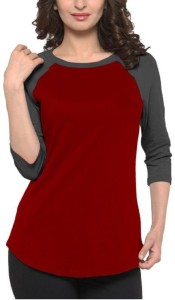 Veirdo Solid Women Round Neck Maroon T-Shirt