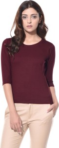 ALC Creations Solid Women Round Neck Maroon T-Shirt
