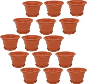 meded 8 inch heavy duty plastic garden planters with bottom tray