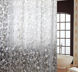 Yellow Weaves PVC White Self Design Shower Curtain 84 Cm In Height Pack Of 2 Best Price India