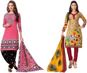 HRINKAR Cotton Printed Salwar Suit Dupatta Material, Kurti Fabric